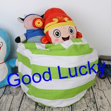 100pcs/lot free shipping hot sale high quality fashion canvas stripe kids stuffed animal storage bean bag(China)