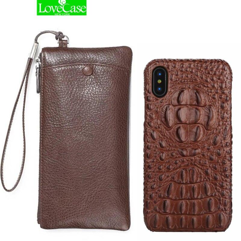 LoveCase Réel Portefeuille En Cuir + Couverture Arrière Pour Téléphone X 10/8 Plus De Luxe 3D Véritable En Cuir Couverture Arrière Pour téléphone X cas sac