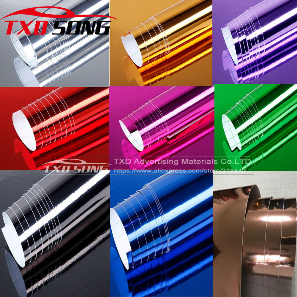 high quality silver Chrome Air Bubble Free Mirror Vinyl Wrap Film Sticker Sheet emblem Car Bike