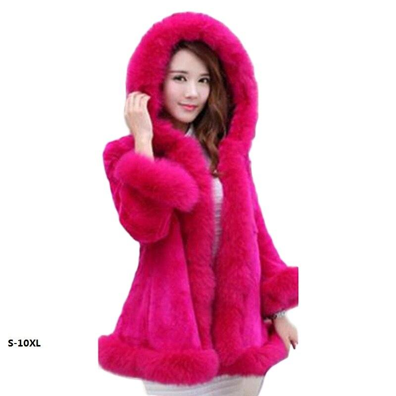 Fur coat women's 2017 new rabbit hooded wool jacket long section of the Korean version plus size Fur coat artificial fur S 10XL