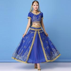 2019 Dance Wear Women Performance Indian Sari Outfit Bollywood Belly Dance Costumes Set (Top+belt+skirt+veil+headpiece)(China)