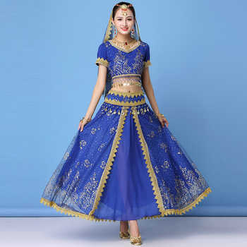 2019  Dance Wear Women Performance Indian Sari Outfit Bollywood Belly Dance Costumes Set (Top+belt+skirt+veil+headpiece) - DISCOUNT ITEM  10% OFF All Category