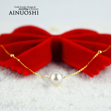 AINUOSHI 18K Yellow Gold Natural Cultured Freshwater Pearl Link Chain 2016 Simple Design Pearl Necklace Women Bijoux Wholesale