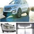 Белый СВЕТОДИОДНЫМИ Фарами Дневного Света Вождение Противотуманные Фары Лампы ДРЛ Для Hyundai Santa Fe IX45 2013 2014 2015