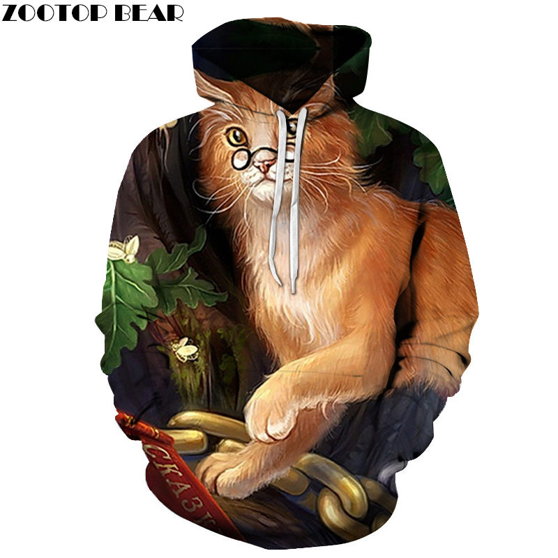 Old Cat Hoodies Men Brand Streetwear Fitness Long Sleeves Fashion Sweatshirts Chai Anime Cosplay Animal 3D printed ZOOTOP BEAR