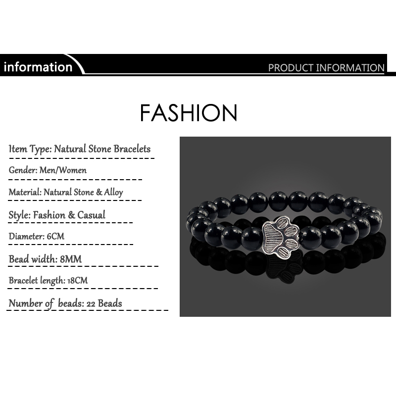 Natural Matte Black Lava Volcanic Stone Paw Print Charm Bracelet Homme Femme Pet Memorial Cat Dog Lovers Jewelry Bracelets Gifts 4