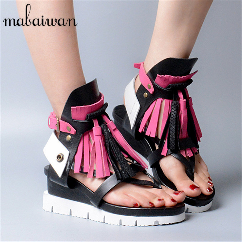 Bohemia Women Genuine Leather Summer Sandals Casual Platform Wedge Shoes Woman Fringed Gladiator Sandal Wedges Valentine Shoes phyanic 2017 gladiator sandals gold silver shoes woman summer platform wedges glitters creepers casual women shoes phy3323