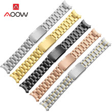 18mm 20mm 22mm 24mm Stainless Steel Band Strap Seamless Welding Deployment Buckle Rose Gold Watchband Bracelet Watch Accessories(China)