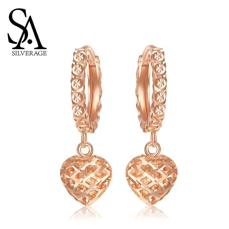 SA SILVERAGE 18K Yellow Gold and Rose Gold Heart Shape Drop Earrings for Woman Gold Earrings