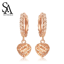 SA SILVERAGE 18K Yellow Gold and Rose Heart Shape Drop Earrings for Woman Circle Women 2019