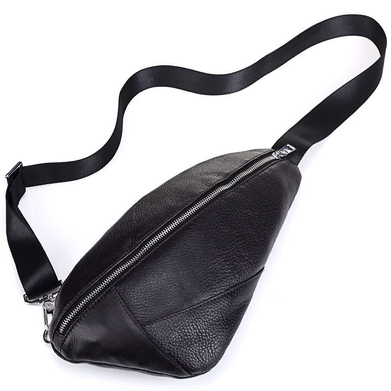 Huile cire cuir hommes bandoulière sacs 8 pouces tablette PC poitrine sac noir affaires mâle Messenger sac à bandoulière 2019 sacs de voyage j50