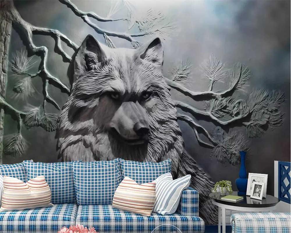 Beibehang пользовательские обои 3D Фото Фреска тисненый лес волк гостиная украшение стены живопись 3d обои papel де parede