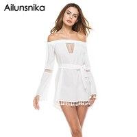 Ailunsnika Sexy Off Shoulder Dress Women Summer Tassel Sexy Patchwork White Tunic Robe Femme Party Mini