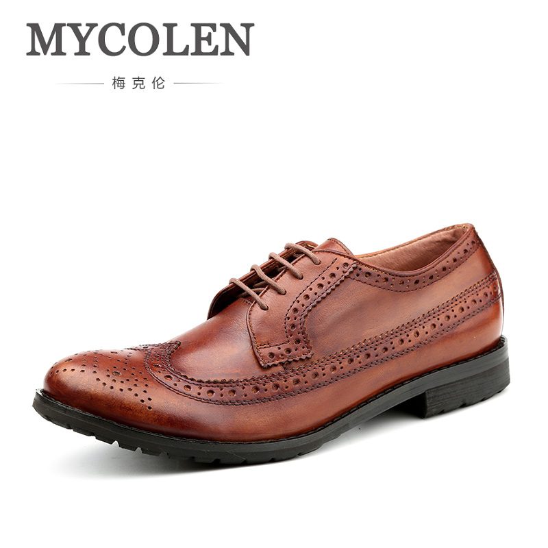 MYCOLEN New Luxury Leather Brogue Mens Shoes Casual British Style Men Fashion Brand Dress Shoes For Men Sapatos Masculinos mycolen mens loafers genuine leather italian luxury crocodile style slip on casual dress shoes for male sapatos masculinos