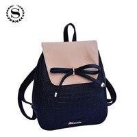 2015 Women Backpacks Bow Brand Pu Leather Backpack Travel Hiking Bags High Quality Girls School Bag