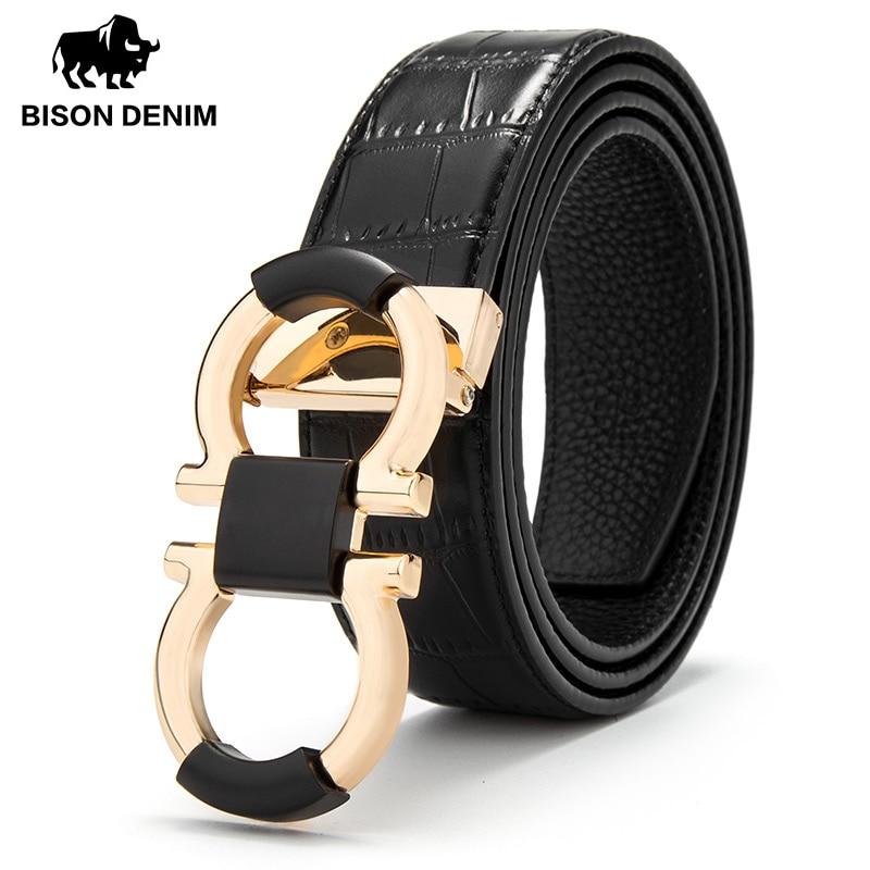 BISON DENIM Men Genuine Leather   Belt   Luxury Designer   Belts   Men First Layer Cowskin Fashion Strap Male Jeans Pin Buckle N71427