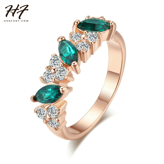 Top Quality Green TearDrop Crystal Ring Rose Gold Color Austrian Crystals Full S