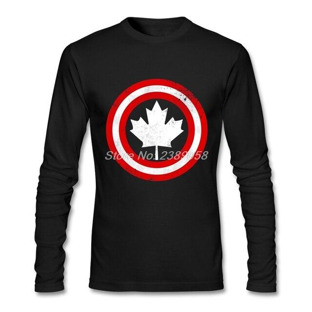 Marke clothing herren t shirts blatt drucken long sleeve crew neck t-shirts baumwolle kanada flagge t shirt herren
