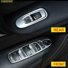 Luhuezu 4pcs Interior Car Window Lift Switch Styling Trims  For Nissan Patrol Armada 2013 2014 2015 2016 2017 Accessories