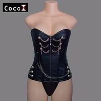 2854 Women Corselet Gothic Brown Zip Front Punk Corset Overbust Leather Corset Tops