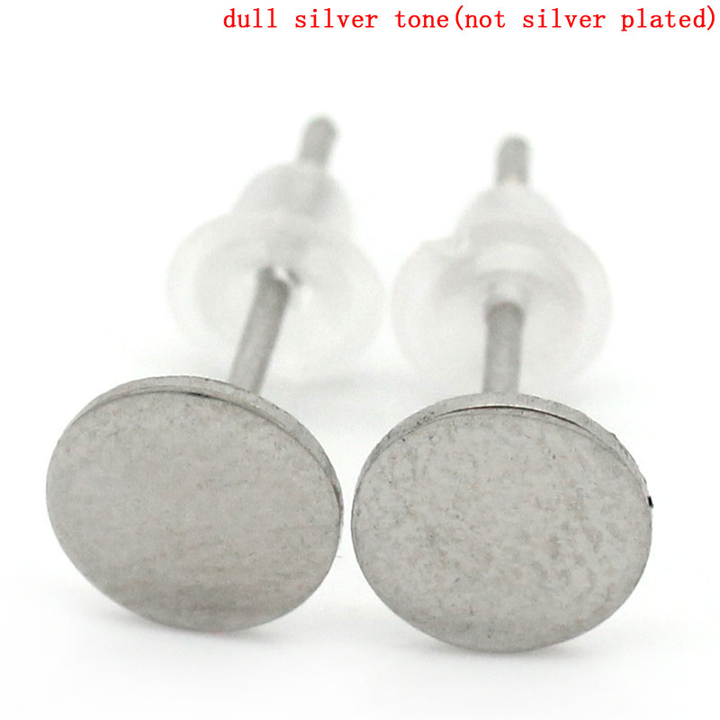 DoreenBeads Stainless Steel Earrings Findings Round Silver Tone 13mm( 4/8