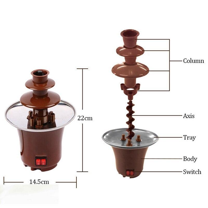 New Mini -Chocolate Fountain Three Layers Creative Chocolate  Melt With Heating Fondue Machine Diy Melt Waterfall Pot Melting To