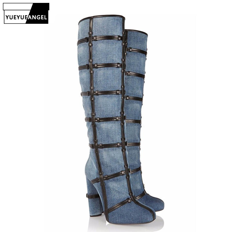 Fashion Women Jeans Thigh High Boots Sexy Night Club Cowboy High Heels Shoes 2019 New Large Size Denim Party Ladies Footwear  Fashion Women Jeans Thigh High Boots Sexy Night Club Cowboy High Heels Shoes 2019 New Large Size Denim Party Ladies Footwear