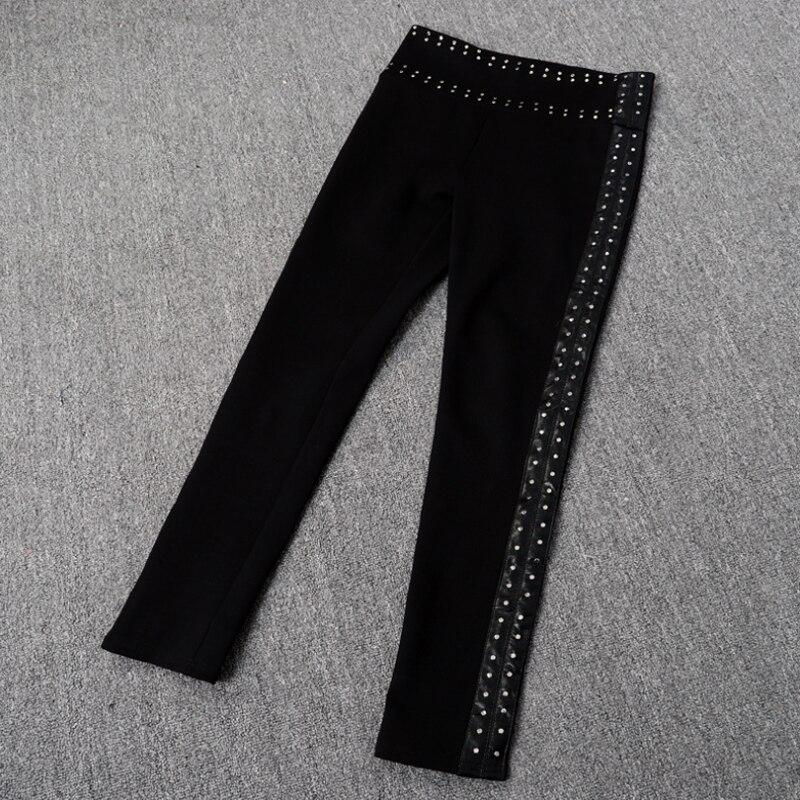 Ruique dames Sexy en cuir Leggings individualité chargement Patchwork Slim Slim Fit pantalon mode porter haut Stretch noir pantalon - 4