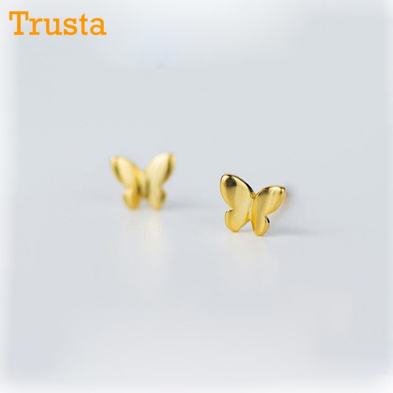Trusta 100% 925 Sterling Silver Jewelry Fashion Cute Tiny 5mmX4mm Gold Butterfly Stud Earrings Gift For Girls Kids Lady DS180