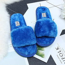 Women Plush Slippers Zapatos Mujer Fashion Spring Winter Fluffy Faux Fur Flat Not-slip Slipper Female Comfortable Casual Shoes
