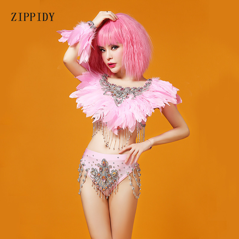 Pink Feather Shourder Piece Short Costume Prom Wear Outfit Birthday Evening Party Women Singer DJ Bar Performance Dance Wear