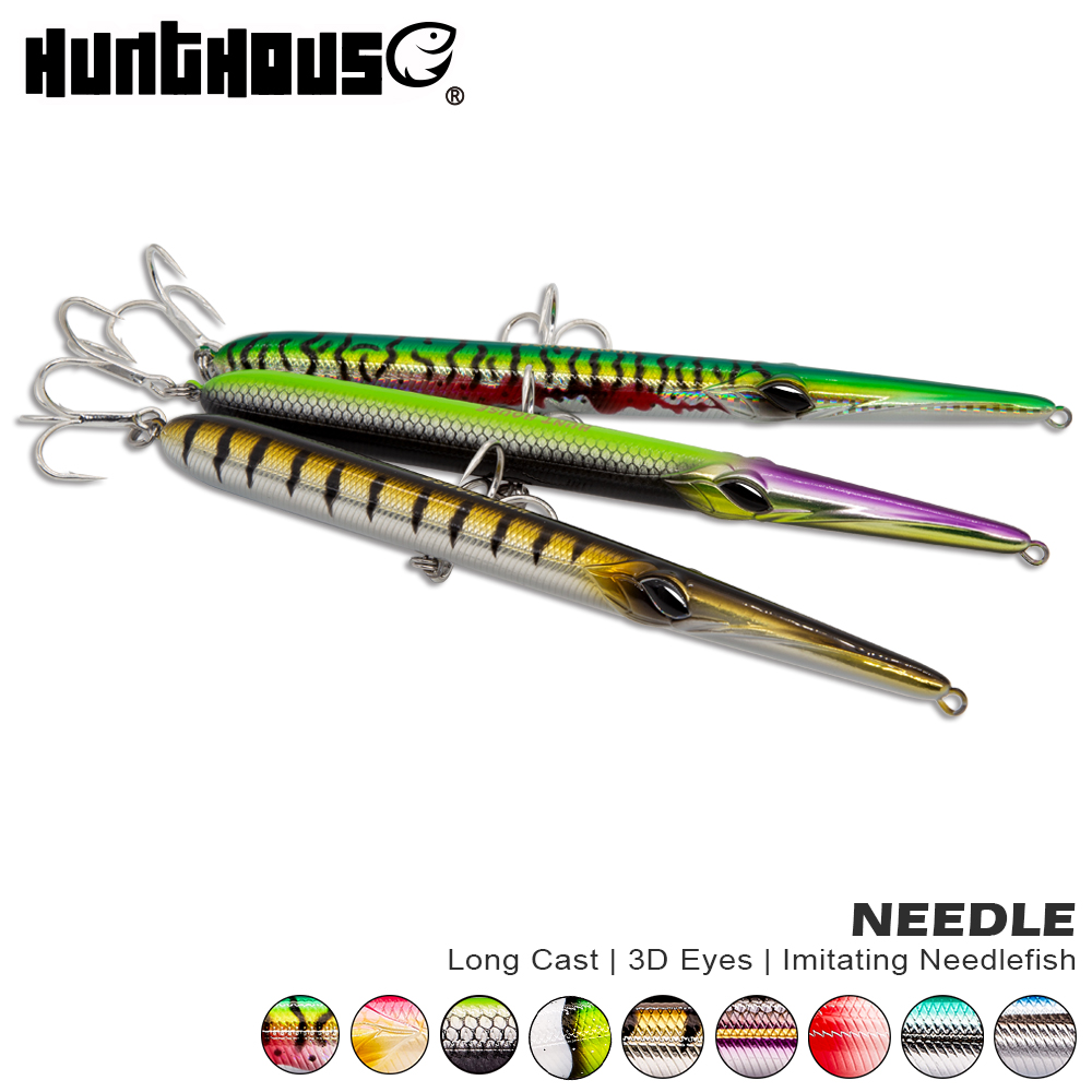 Hunthouse needle stylo fishing lure long casting pencil stickbait floating&sinking 205mm 31/36g skipping garfish sphyraena pesca