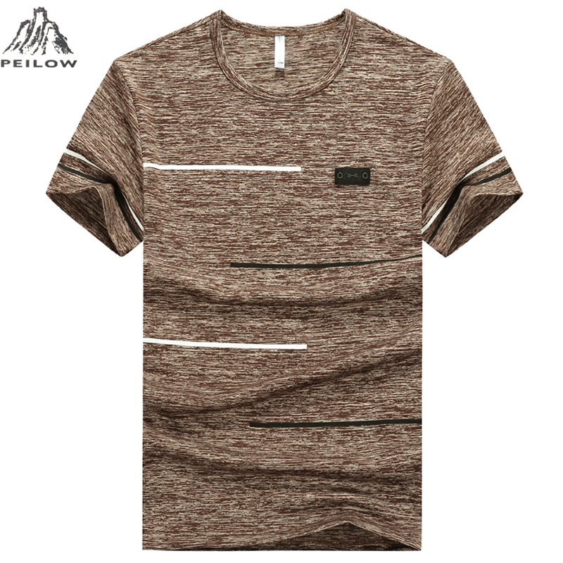 PEILOW Summer Fashion Men's Short Sleeve   T     Shirt   Casual quick drying Men khaki blue Slim Fit Hip-Hop Top Tees size M~7XL 8XL 9XL