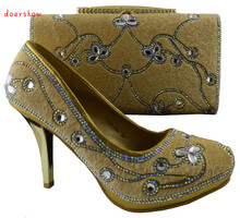 doershowFree Shipping African Fashion Shoes and Matching Bags set for women with plenty stones and Italy