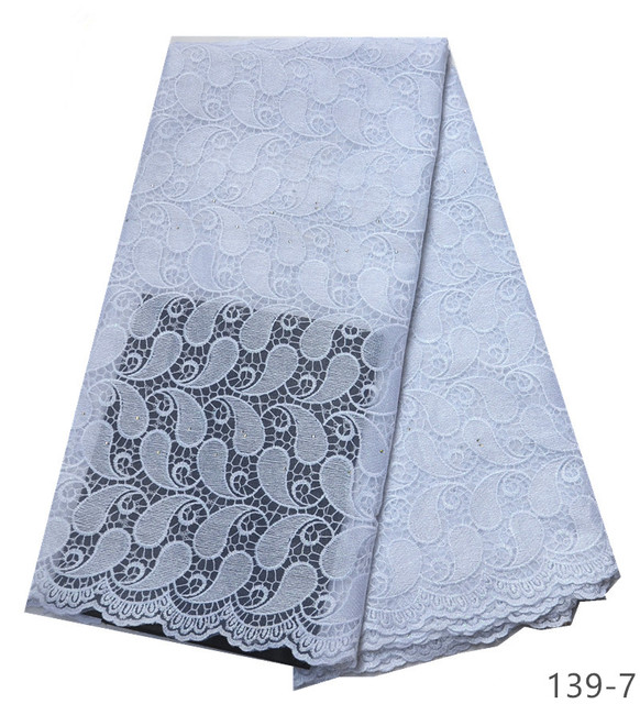 Latest African Laces Fabrics Embroidered African Guipure French Lace Fabric 2019 African French tulle Net Lace Fabric 139
