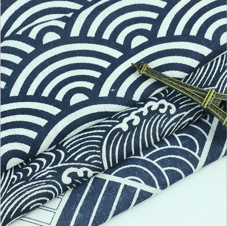 150x100cm Wave Japonské Twill bavlněné tkaniny pro polštáře opona patchwork metru pohovka čalounění tkaniny