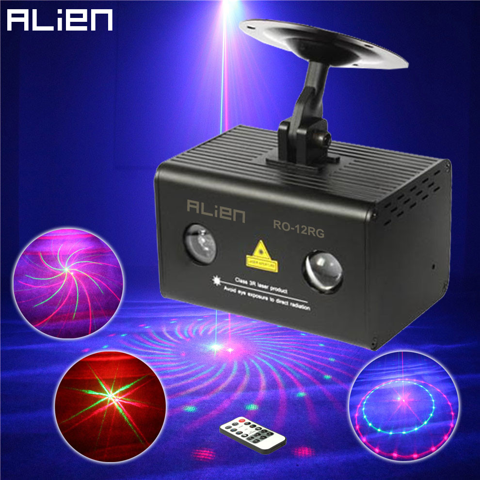 ALIEN Mini Remote 12Patterns RG Stage Laser Projector Lighting Effect DJ Party Dance Disco Led RGB Water Galaxy Decoration Light laser stage lighting 48 patterns rg club light red green blue led dj home party professional projector disco dance floor lamp