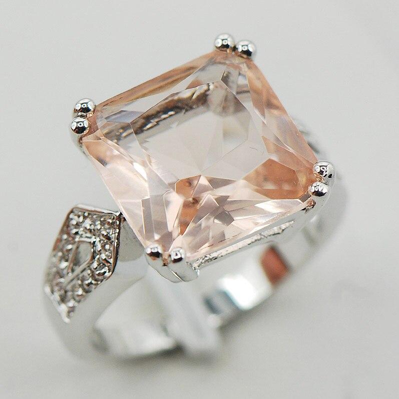 Morganite White Crystal Zircon Women 925 Sterling Silver Ring F917 Size 6 7 8 9 10