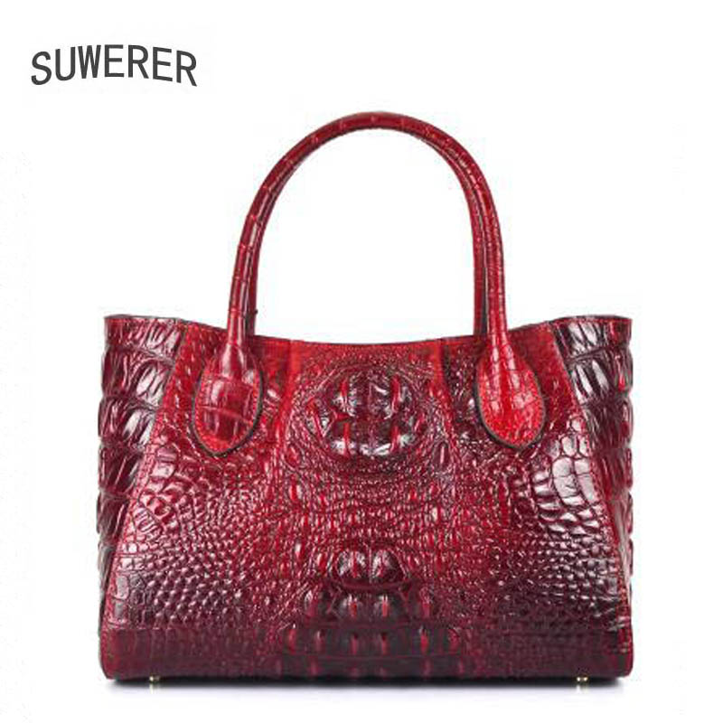 SUWERER Superior genuine leather women handbags Crocodile pattern cowhide luxury handbags women bags designer leather women bag цена