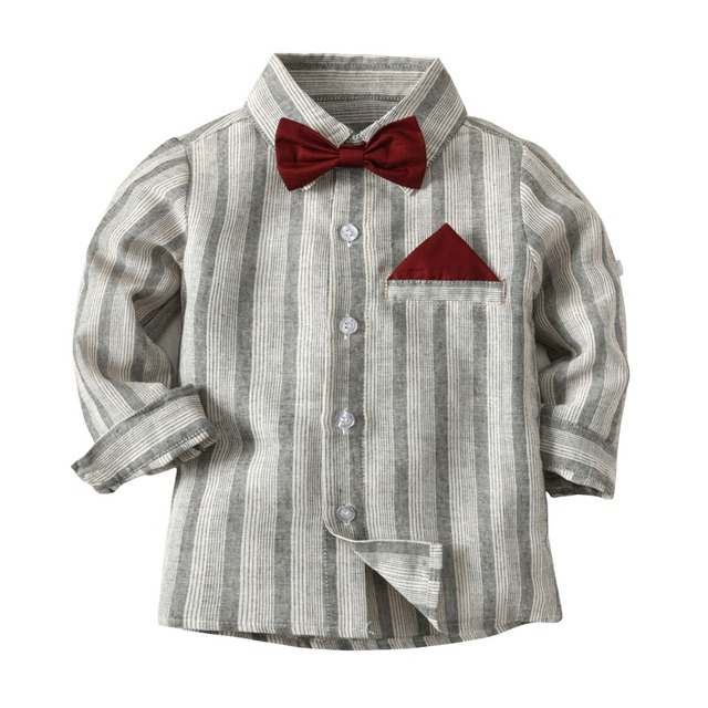 3aee204d8 Cute Boys Gentleman Bow Shirts Tees Gray Color Stripes Classic Fashion Tops  Western Children Boys Spring Autumn Blouse