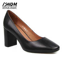 Women's High Square Heel Shoes Office Lady Pumps Square Toe Shallow Female Footwear Natural Cow Leather Ladies Pumps
