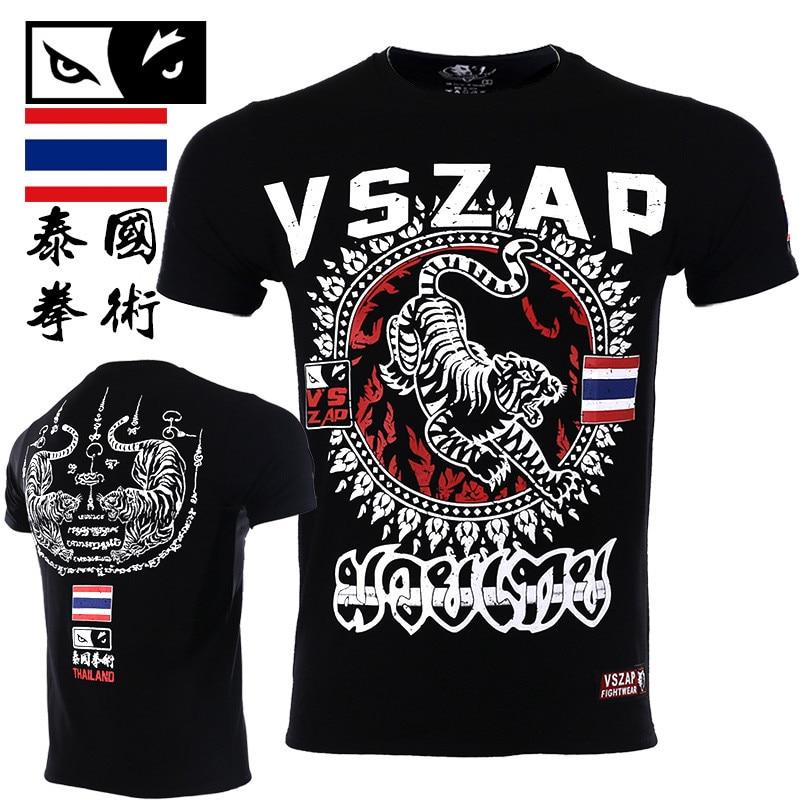 VSZAP Muay Thai Tigers Tshirt Print Short-Sleeved Fitness T-Shirt Men Breathable High Quality Elastic Sporting MMA Tide Costume