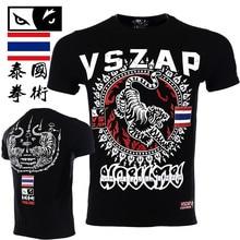 VSZAP Muay Thai Tigers Tshirt Print Short-sleeved Fitness T-shirt Men Breathable High Quality Elastic Sporting MMA Tide Costume vszap men s hoodie jacket long sleeve zip hooded sweatshirt mma muay thai long sleeved sportwear