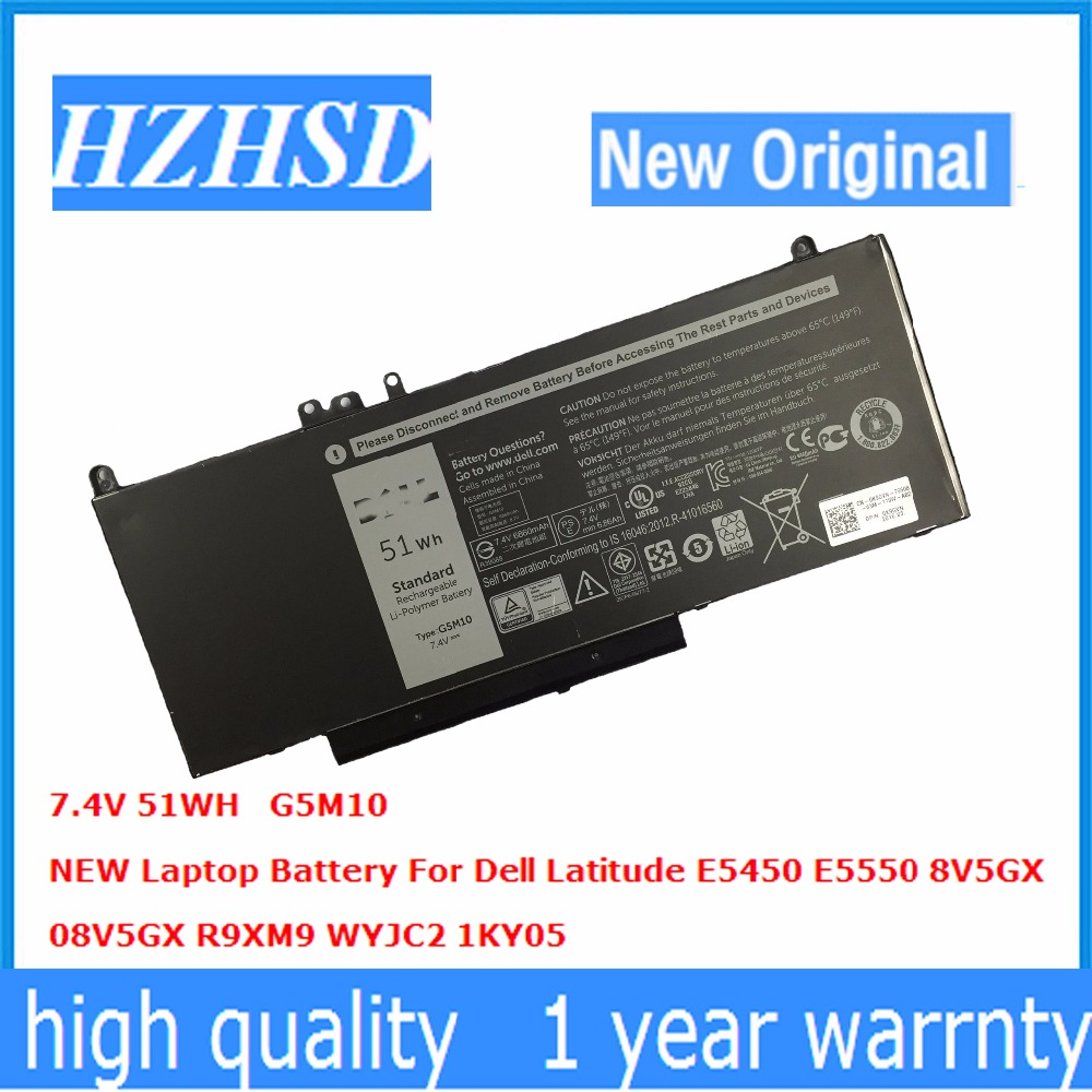7.4V 51WH New Original G5M10 Laptop Battery for Dell Latitude E5550 E5450 8V5GX 08V5GX R9XM9 WYJC2 1KY05