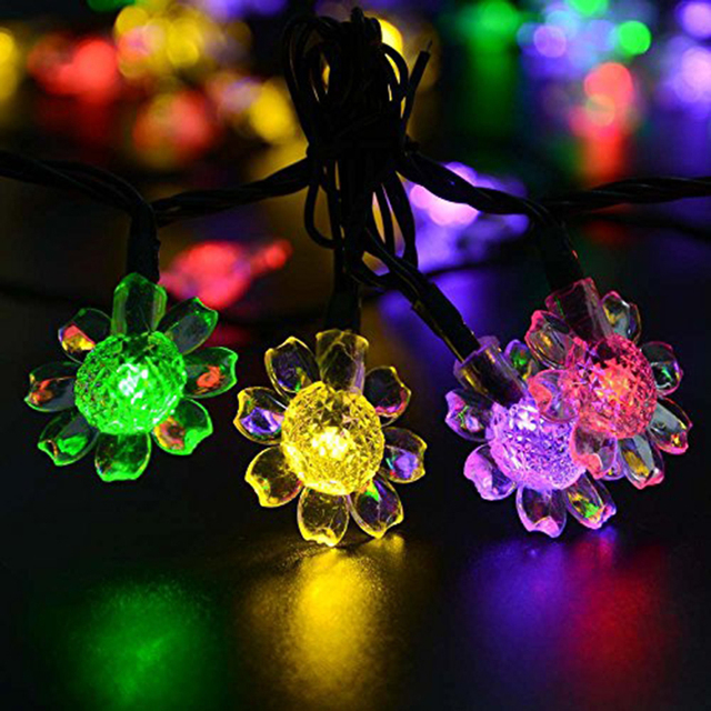 Sunflower Solar String Lights 50 Led Peach Blossom Decorative Garden Lawn Patio Christmas Trees Wedding Party