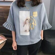 Women's 2017 korean style blue ruffle women shirts Top Ruffles plus Big Size women clothing summer 3XL
