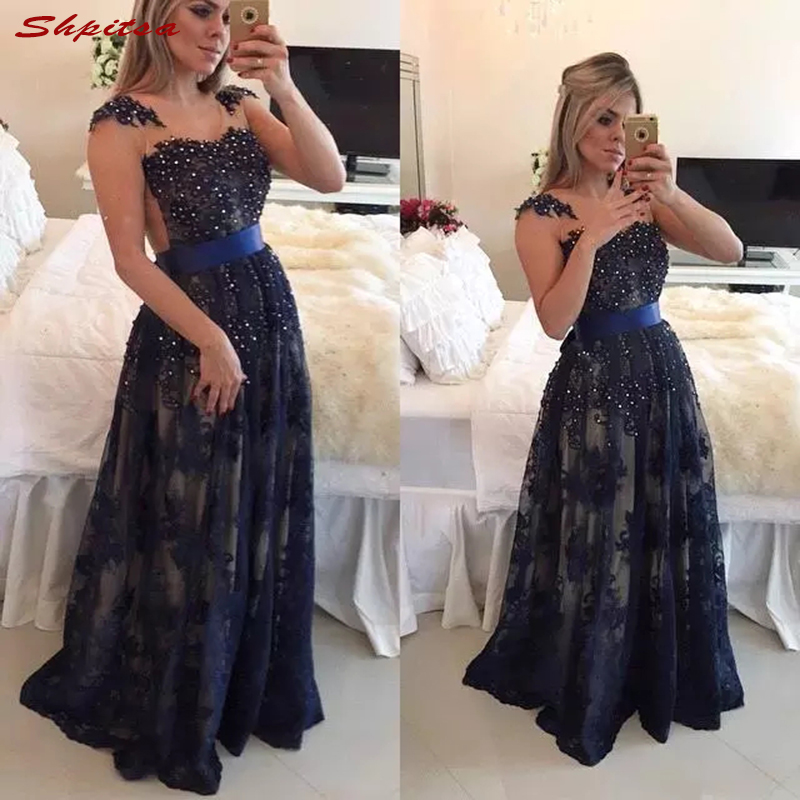 Navy Blue Mother Of The Bride Dresses For Wedding Party Beaded Prom Evening Groom Dinner Dresses 2018