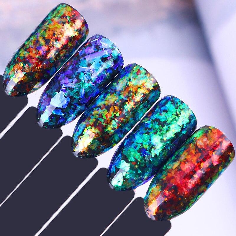 NATO PIUTTOSTO Irregolare Chameleon Nail Glitter 5 Colori Paillettes Set Nube Polvere Fiocchi Paillette Kit Manicure Del Chiodo Decorazione di Arte