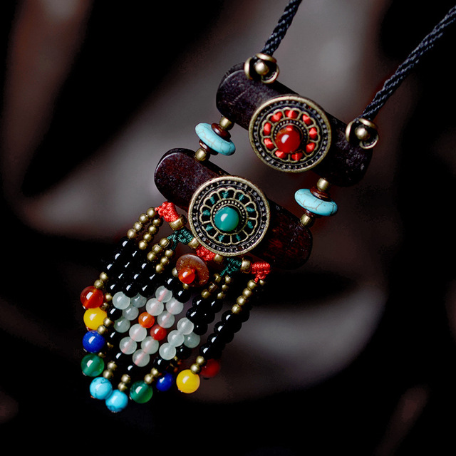COBRE ACCESORIOS de Recuerdos de la vendimia collar largo suéter collar de madera, nueva joyería étnica Tibetana piedras collar de piedra,