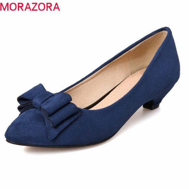 b28d5a31c7 MORAZORA 2019 tamanho grande mulheres bombas sapatos de senhora verão  vestido bowknot doce sapatos dedo apontado confortável sapatos de salto med